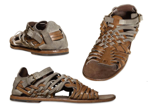 DOLCE E GABBANA VESUVIO WOVEN CRUST & LEATHER SANDALS